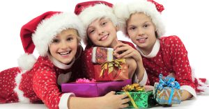 kids with holiday gifts